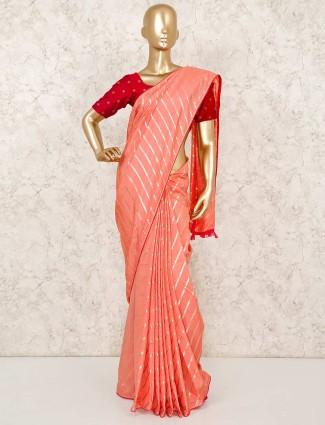 Peach cotton silk stripe zari weaving saree