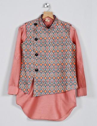 Peach cotton silk waistcoat set for boys