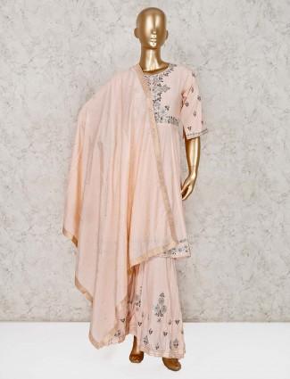 Peach cotton silk wedding punjabi palazzo suit
