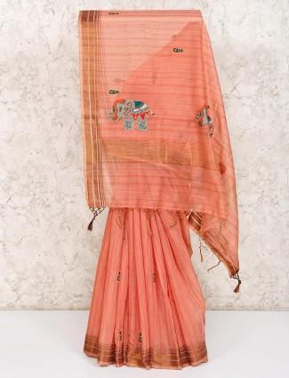 peach cotton thread embroidered saree