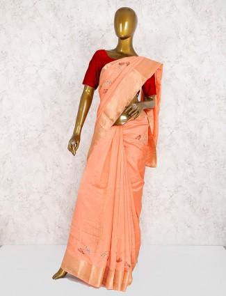 Peach designer pretty saree in semi silk