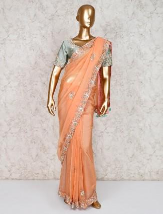 Peach designer tissue silk saree with ready made blouse