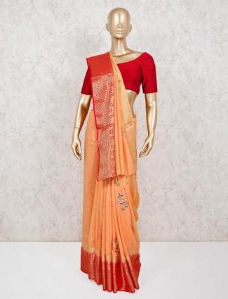 Peach dola silk saree for pretty womens