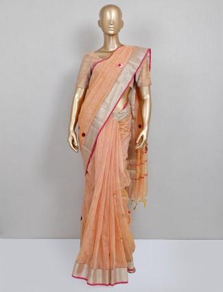 Peach embroidered saree in handloom cotton