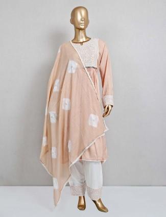 Peach festive wear cotton punjabi salwar suit