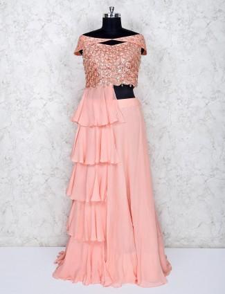 Peach georgette indo western salwar suit