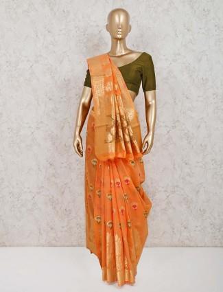 Peach handloom cotton silk festive wear saree