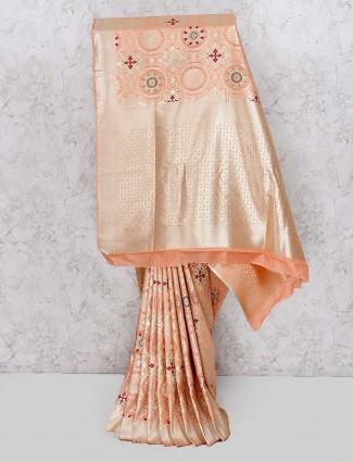 Peach hue banarasi silk wedding occasion saree
