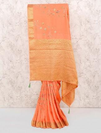 Peach hue cotton fabric pretty saree