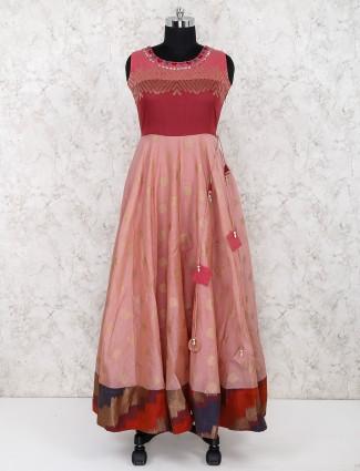 Peach hue cotton festive wear long salwar suit