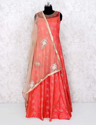 Peach hue cotton silk anarkali salwar suit for festive