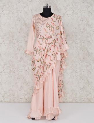 Peach hue cotton silk designer long salwar suit