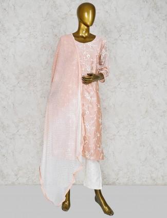 Peach hue cotton silk fabric punjabi salwar suit