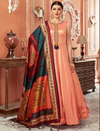 Peach hue cotton silk festive floor length anarkali salwar suit