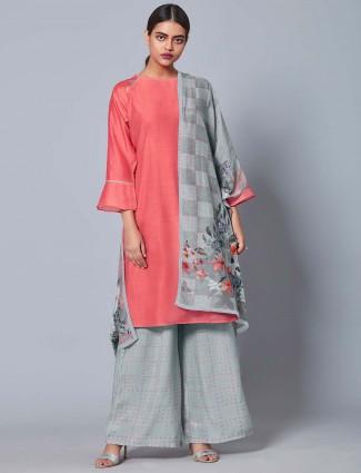 Bright pink hue cotton silk festive punjabi palazzo suit