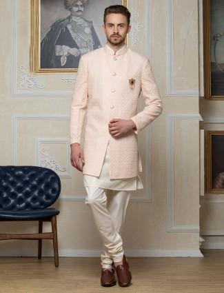 Peach hue georgette fabric designer indo western