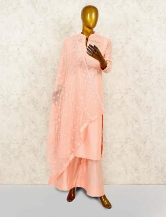 Peach hue lovely cotton silk punjabi palazzo suit