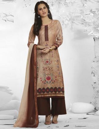 Peach hue pretty cotton fabric punjabi palazzo suit