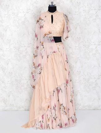 Peach hue pretty cotton silk fabric lehenga choli