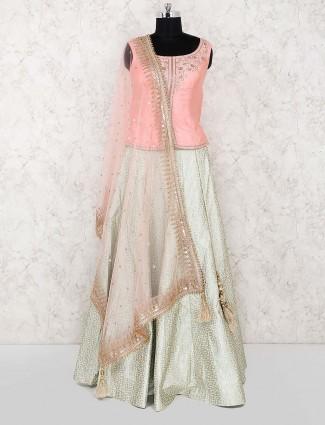 Peach hue pretty cotton silk wedding lehenga choli