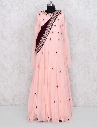 Peach hue pretty floor length anarkali salwar suit in georgette