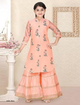 Peach hue punjabi sharara suit in cotton silk