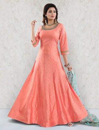 Peach hue raw silk fabric floor length anarkali salwar suit
