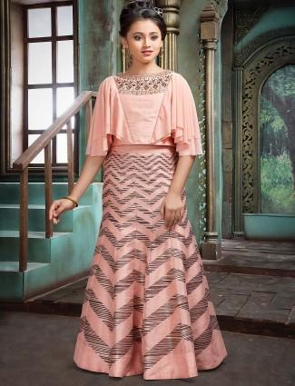 Peach hue raw silk wedding function lehenga choli