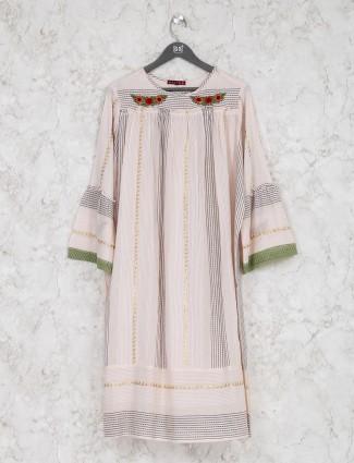 Peach hue stripe cotton kurti