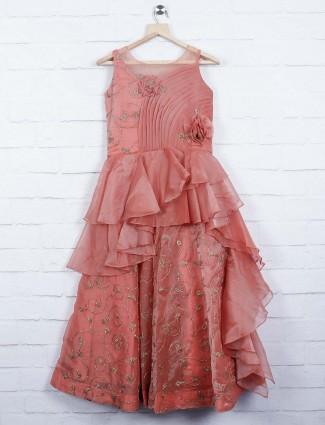 Peach hue tissue silk party gown