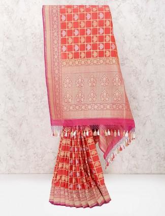 Peach hue wedding saree in banarasi semi silk