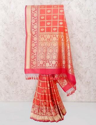 Peach hue wedding wear banarasi semi silk saree