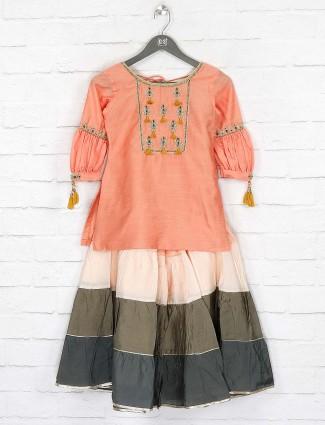 Peach hued cotton fabric lehenga choli