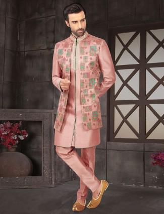 Peach jacket style indo western in raw silk