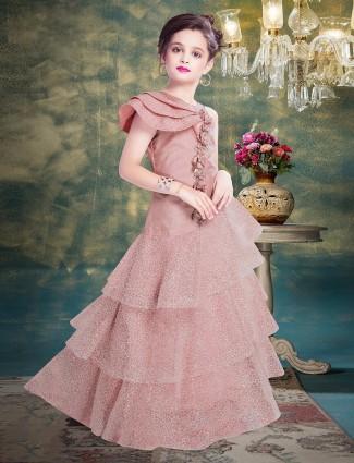 Peach layer style net designer gown