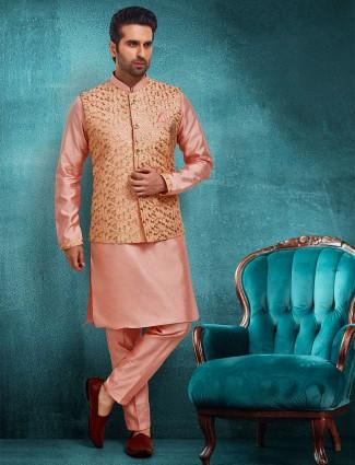 Peach mens raw silk kurta suit