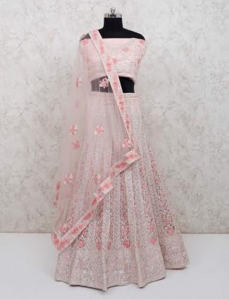 Peach net bridal wear semi stitched lehenga choli