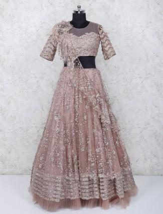 Peach net fabric wedding occasion lehenga choli