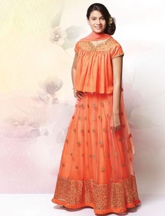 Peach net wedding designer lehenga choli