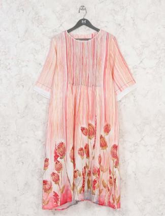 Peach printed cotton kurti