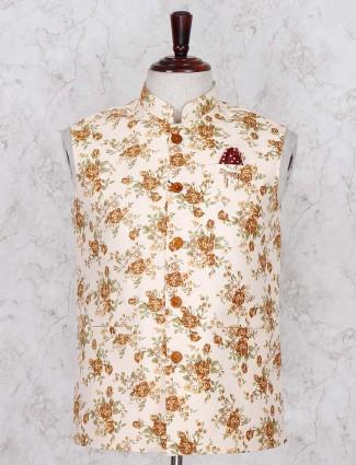 Peach printed terry rayon waistcoat