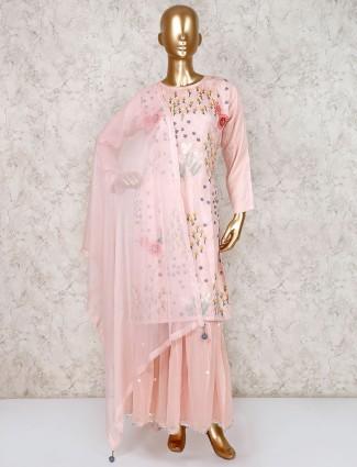 Peach punjabi sharara suit in cotton silk