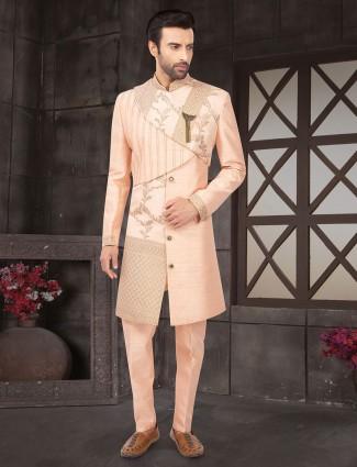 Peach raw silk indo western suit