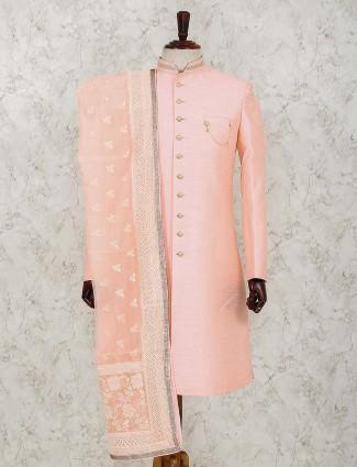 Peach raw silk solid wedding indo western