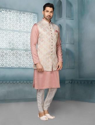 Peach raw silk with thread work mens waistcoat set