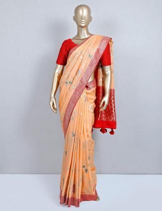 Peach semi silk wedding wear saree for wedding