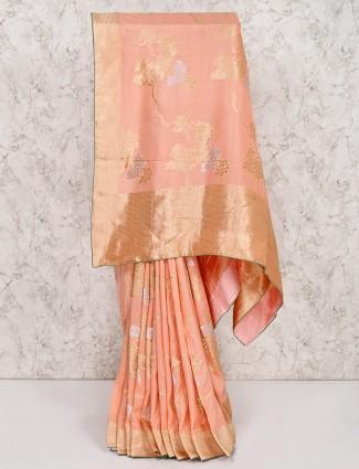 Peach silk party wear saree