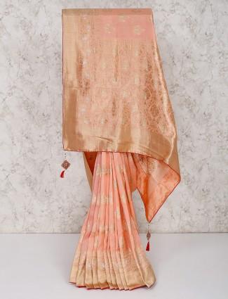 Peach silk saree for festival