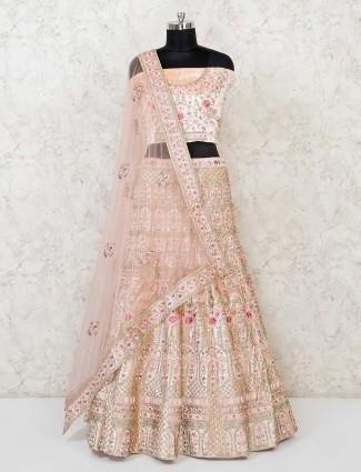 Peach silk wedding wear semi stitched lehenga choli