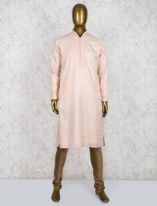 Peach simple cotton fabric kurta suit